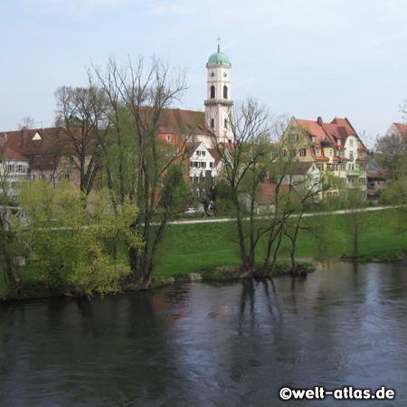 Stadtamhof und Kirche St. Mang, Donau, Main-Donau-Kanal