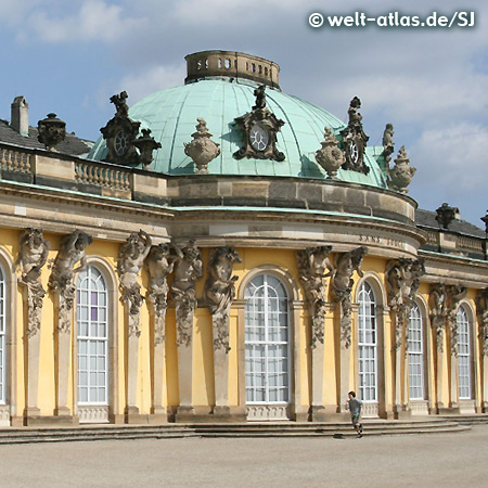 Schloss Sanssouci, Gartenseite, UNESCO-Weltkulturerbe in Potsdam