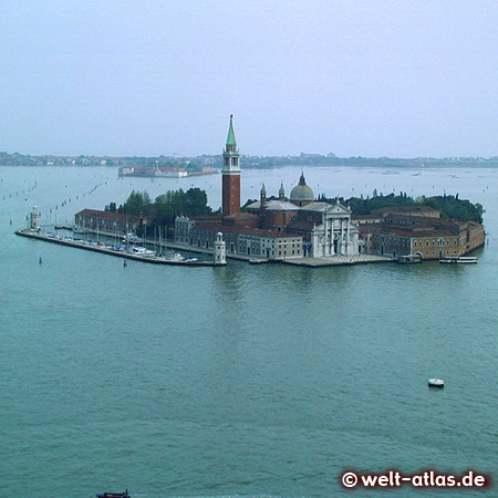 Blick auf San Giorgio Maggiore, Insel, Kirche und Kloster in der Lagune von Venedig, UNESCO-Welterbe