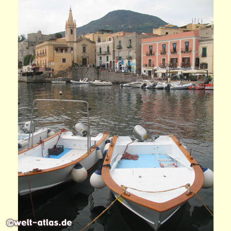 Harbour Marina Corta at Lipari Island, UNESCO World Heritage Site