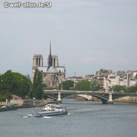 UNESCO-Welterbe, Seine mit Brücke und Kathedrale Notre-Dame, Paris