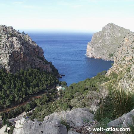 Die Bucht Sa Calobra in der Serra de Tramuntana