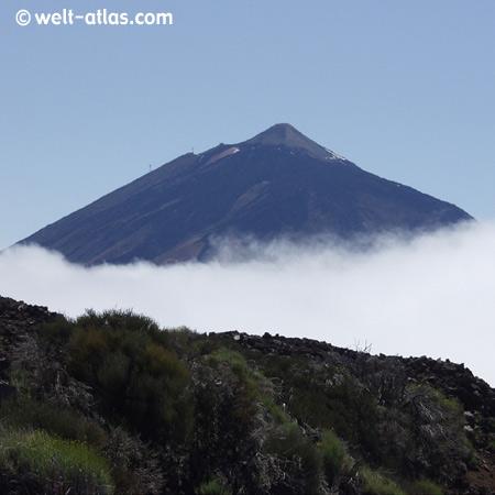 Spitze des Teide, Nationalpark Teide, UNESCO-Welterbestätte, Teneriffa, Kanarische Inseln