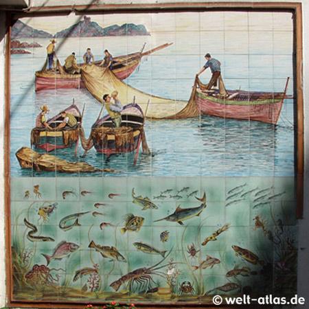 Amalfi, Fischerbild vor Fischhändler