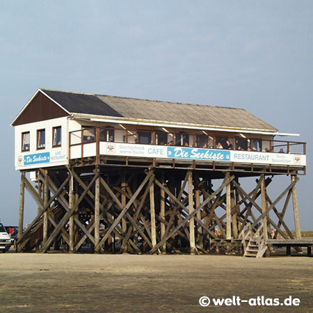 """Die Seekiste"", Restaurant on the beach, St. Peter-Ording, Northern Friesland"