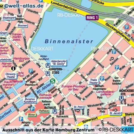 Ausschnitt aus dem StadtplanHamburg Zentrum, www.welt-atlas.de, ©RB-DESKKART