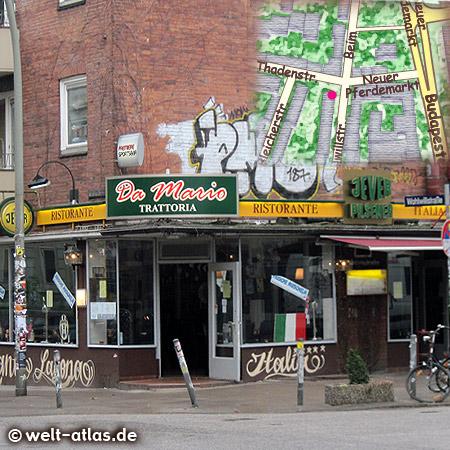 Ristorante Da Mario, hier isst die Nachbarschaft und Freunde des Hauses, wie zB. der FC St. Pauli. Kegelbahn im Keller http://www.trattoria-da-mario-hamburg.de/