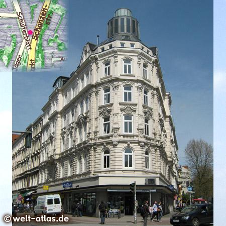 Haus Ecke Schulterblatt und Schanzenstraße, Nähe Neuer Pferdemarkt