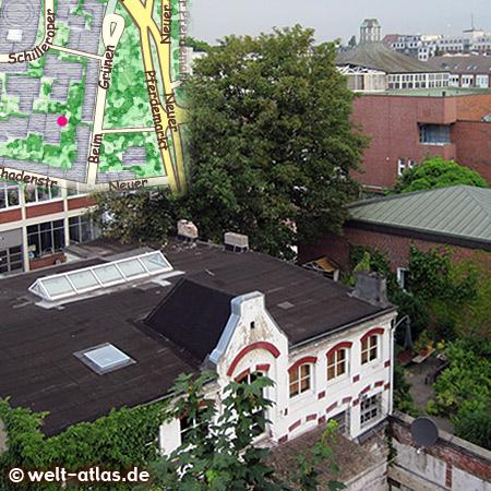 Der Tangosalon Universo Tango im ehemaligen Hofgebäude im Hinterhaus am Neuen Pferdemarkt, Blick über die Dächer bis zur Schilleroper