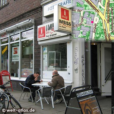 Imbiss bei Schorsch, die Currywurst istberühmt, Beim Grünen Jäger 14 am Neuen Pferdemarkt