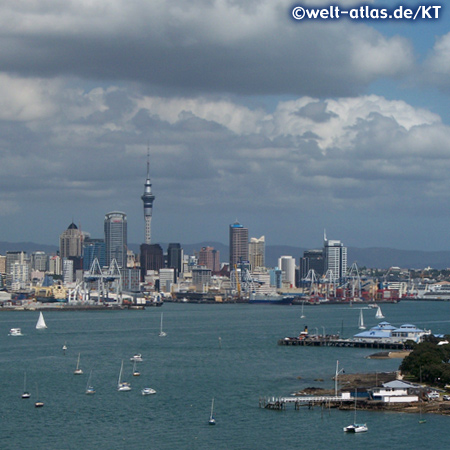 Skyline with Sky Tower and harbour, Auckland