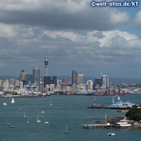 Hafen mit Skyline und Sky Tower in Auckland