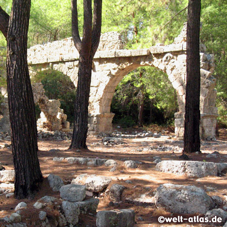 Ruins of Phaselis, forested peninsula with nice beaches to swim