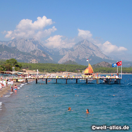 Beach in Kemer and Taurus Mountains