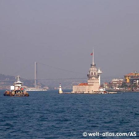 Kiz Kulesi, Leanderturm auch Mädchenturm genannt, ehemals ein Leuchtturm, heute Restaurant auf dem Bosporus
