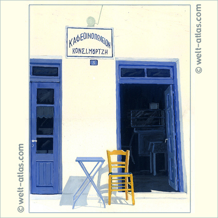 kafenion (coffee shop) with blue doors, tempera drawing