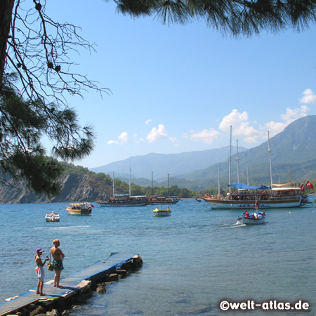 Phaselis Southwest Harbor, Ruins of Phaselis, forested peninsula with nice beaches to swim