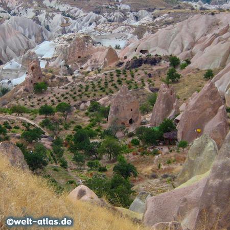 Blick ins Kizilcukur-Tal oder Rotes Tal in Kappadokien