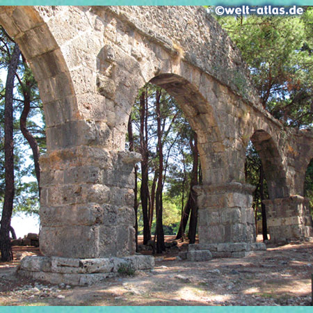 Aqueduct, Ruins of Phaselis, forested peninsula with nice beaches to swim