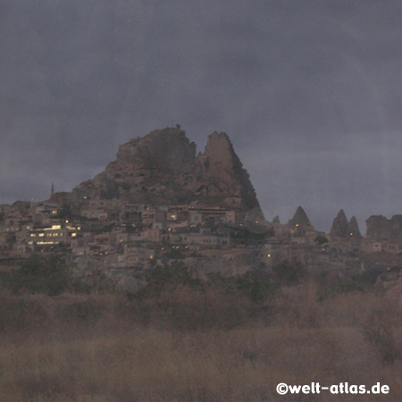 Rock Castle of Uchisar before dawn