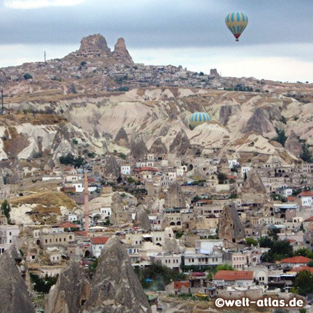 Hot Air Ballooning, Goreme - looking from above, Uchisar Rock Castle in the back