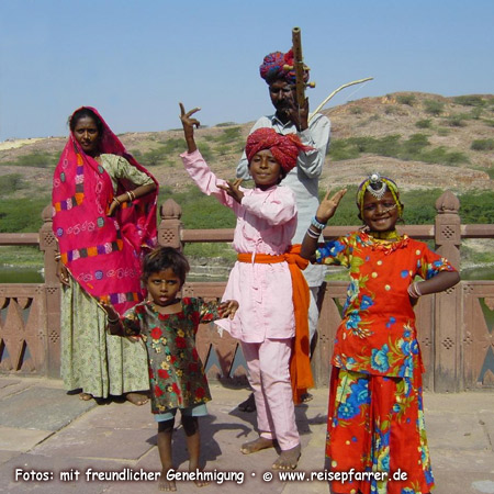 Musikerfamilie auf dem Mehrangarh Fort in Jodhpur, Rajasthan IndienFoto:© www.reisepfarrer.de