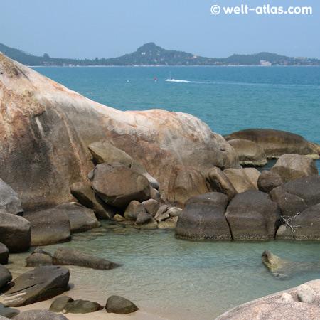 Bucht bei Hin Ta Hin Yai, Großvater- und Großmutterfelsen, Thailand, Koh Samui