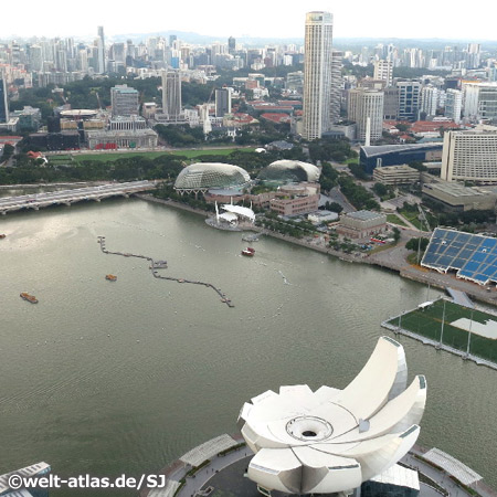 View from Marina Bay Sands Hotel across the Marina Bay