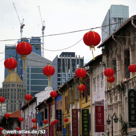 Singapur, rote Lampions in Chinatown