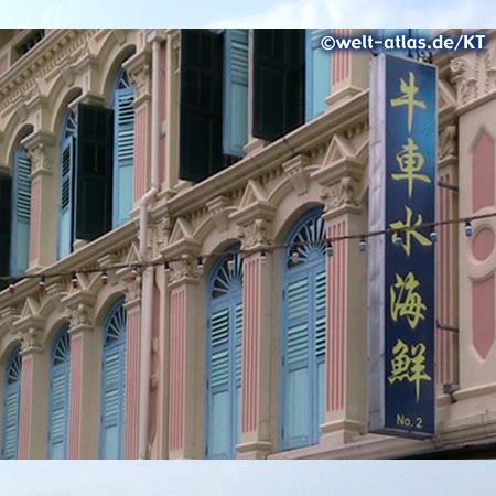 Fassade und Fensterläden in Chinatown, Singapur