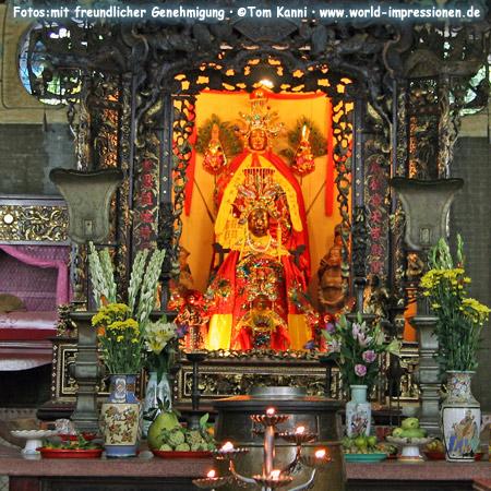 inside Thien Hau Pagoda in Ho Chi Minh City, Vietnam