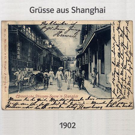alte Postkarte mit Grüßen aus Shanghai, 1902