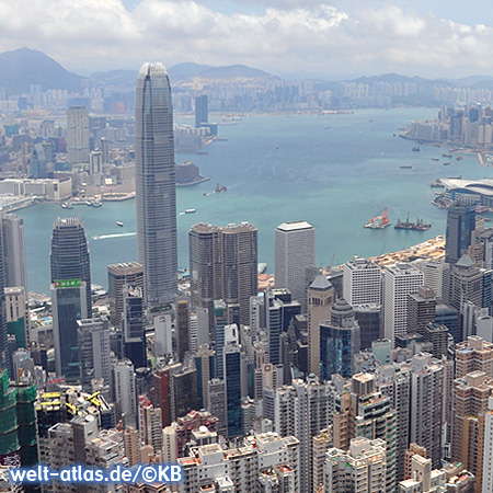 View from Victoria Peak, overlooking Hong Kong, harbour and skyscrapers