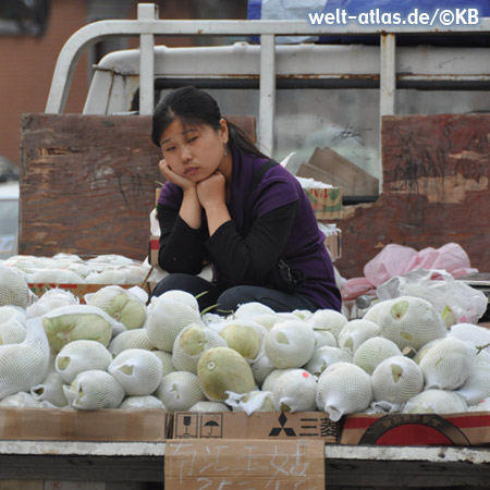 Woman behind her stall with papayas