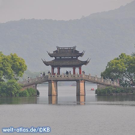 Beautiful bridge on West Lake in Hangzhou