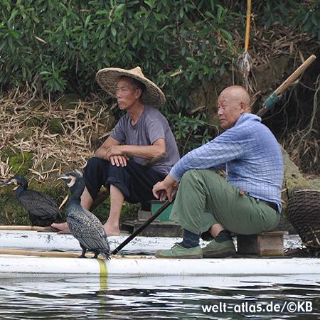 Auf dem Li-Fluss bei Guilin wird auch heute noch der traditionelle Fischfang mit Kormoranen betrieben