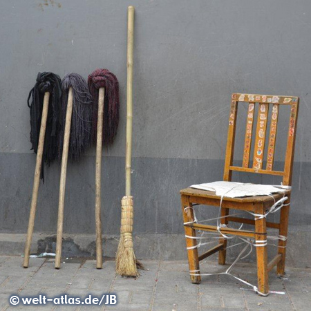 still life with cleaning mops, broom and chair, Beijing