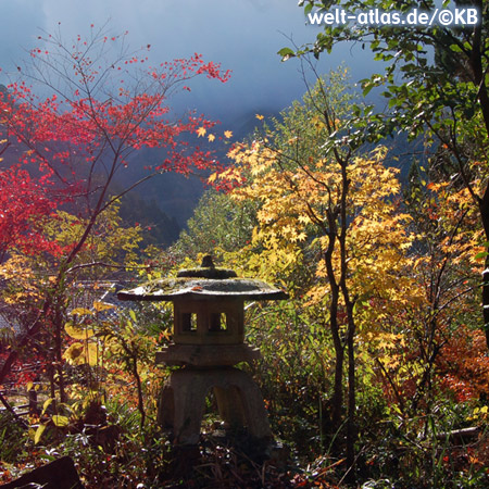 Colorful autumn in a Japanese garden with old stone lantern