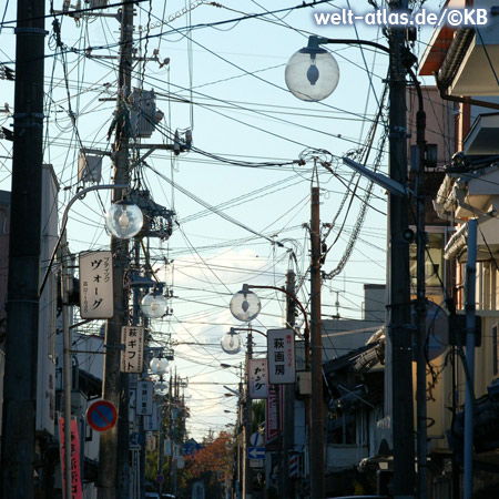 Streetscape with Japanese style of cable laying