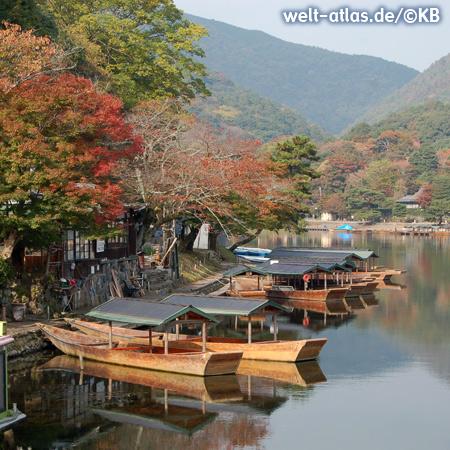Boote am Hozu River, Arashiyama, herbstliche Laubfärbung am Ufer