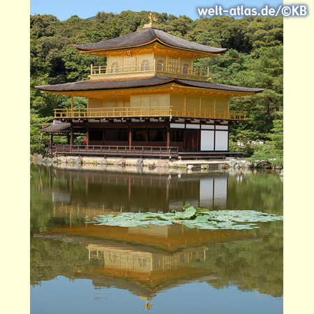 Kinkaku-ji, der Goldene Pavillon spiegelt sich im See – buddhistischer Tempel in Kyoto