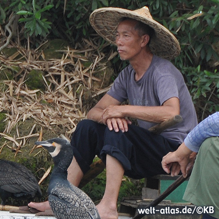 Traditional cormorant fishing on the Li River near Guilin