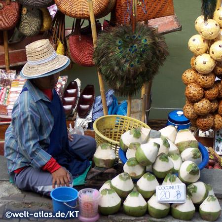 Schwimmender Markt bei Damnoen Saduak, Frau mit Trinkkokosnüssen