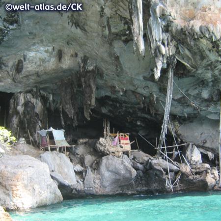 """Höhle """"Viking Cave"""" auf  Koh Phi Phi Ley, berühmt für die prähistorischen Wandzeichnungen, außerdem werden hier die Nester der Seeschwalben """"geerntet"""" (chinesischen Küche)"""