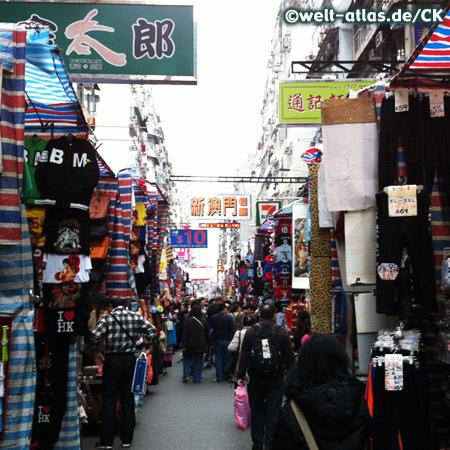 Clothing stalls at street market, Hong Kong