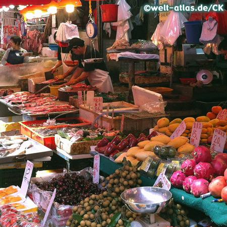 Obst- und Gemüsemarkt im Stadtteil Mong Kok, Kowloon, Hong Kong