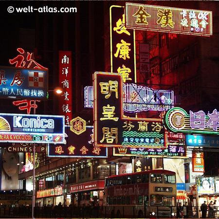 Hong Kong, Nathan-Road, Kowloon bei Nacht