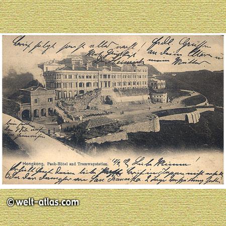 Alte Postkarte von 1902, HongkongPeak-Hotel und Tramwaystation