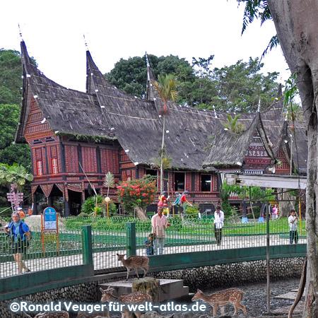 Im Zoo von Bukittinggi - traditionelles Minangkabau-Haus, Museum