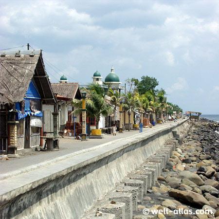 Promenade, Ampenan, Lombok, alter Fischerhafen, Moschee